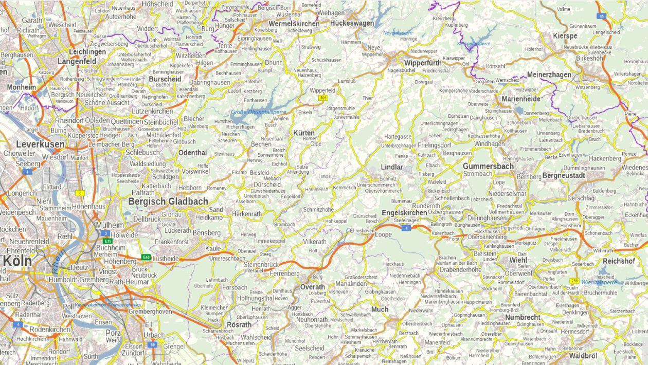 Landkarte Bergisches Land